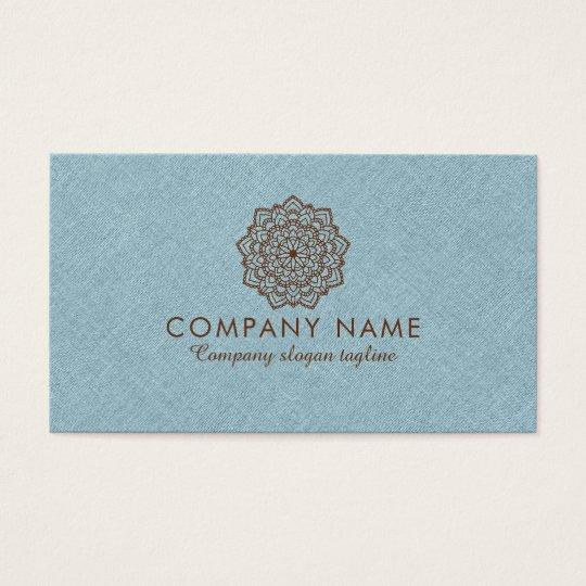 Blue Burlap Linen With Brown Mandala Business Card