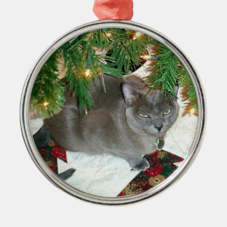 Blue Burmese Xmas Silver-Colored Round Decoration