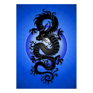 Blue Burst Chinese Dragon Business Card Templates