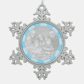 Blue Burst Round Border Snowflake Pewter Christmas Ornament