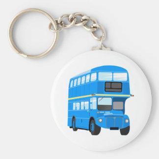 Blue Bus Basic Round Button Key Ring