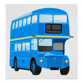 Blue Bus Poster