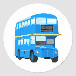 Blue Bus Round Sticker