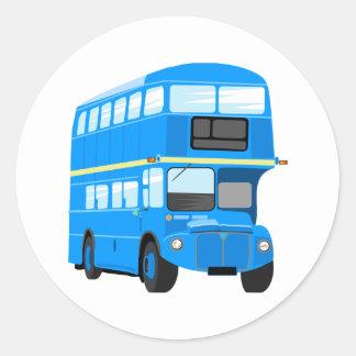 Blue Bus Round Sticker