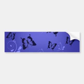 Blue Butterfies and Swirls Bumper Sticker