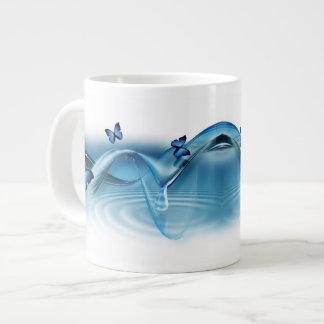 Blue Butterflies 20 Oz Large Ceramic Coffee Mug Jumbo Mug
