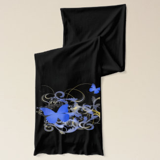 Blue Butterflies and Vines Scarf