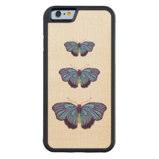 Blue Butterflies Carved Maple iPhone 6 Bumper Case