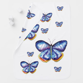 Blue Butterflies Drawing Baby Blanket