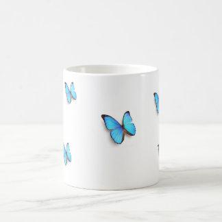 blue butterflies basic white mug
