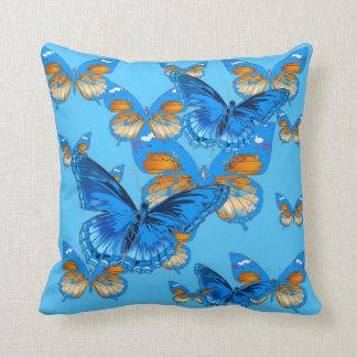 BLUE BUTTERFLIES ON BABY BLUE CUSHION