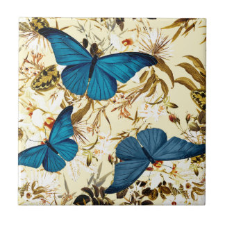 Blue Butterflies on Vintage Cream Floral Pattern Small Square Tile