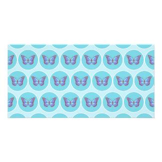 Blue butterflies pattern personalised photo card