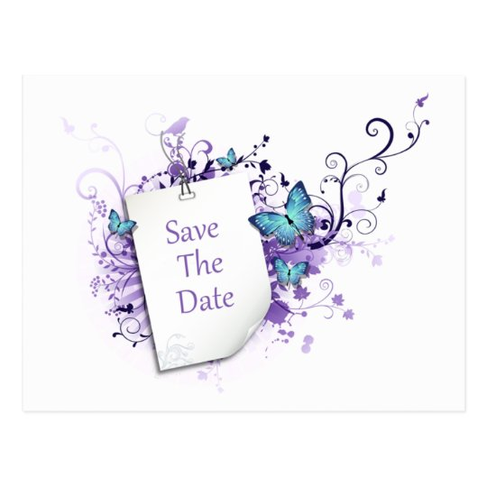 Blue Butterflies Purple Swirls Save The Date Postcard