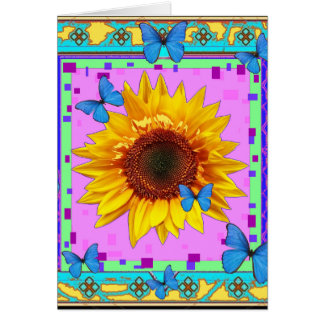 Blue Butterflies, Sunflower Pink Gifts by Sharles Greeting Card