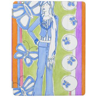 Blue Butterflies Surrounding Glamorous Girl iPad Cover