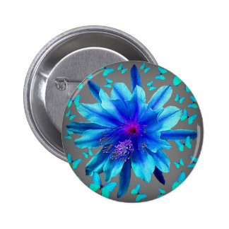 Blue Butterflies Tropical Flower Gifts 6 Cm Round Badge