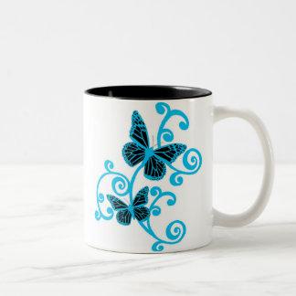 blue butterflies Two-Tone coffee mug