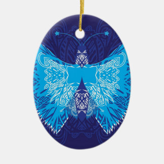 Blue Butterfly Abstract Christmas Ornament