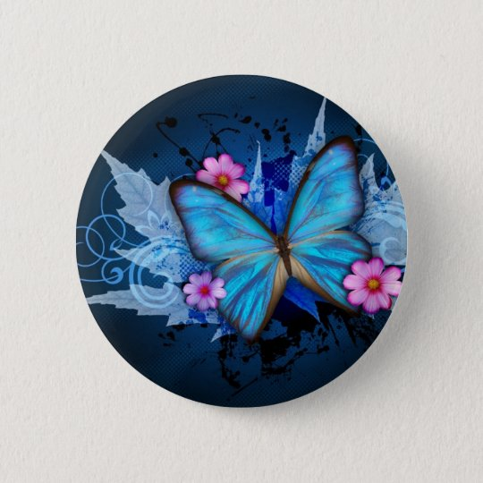 Blue-Butterfly-Abstract.jpg 6 Cm Round Badge