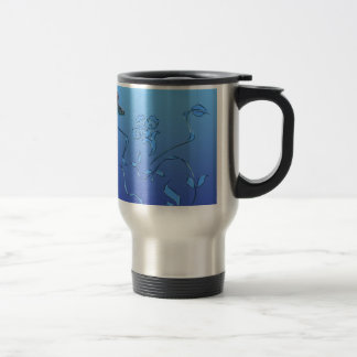 Blue Butterfly and Flourish Stainless Steel Travel Mug