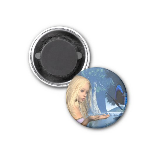 Blue Butterfly and Water Nymph - 2 3 Cm Round Magnet