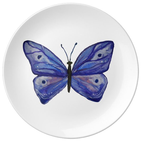Blue Butterfly Art Decorative Porcelain Plate