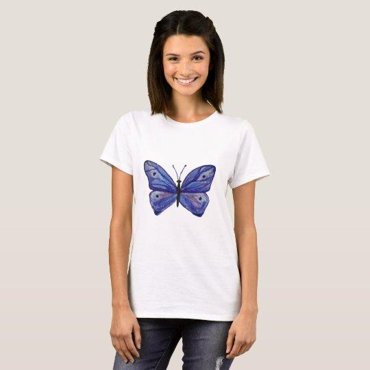 Blue Butterfly Art Women's Basic T-Shirt, White T-Shirt