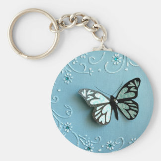 Blue Butterfly Basic Round Button Key Ring
