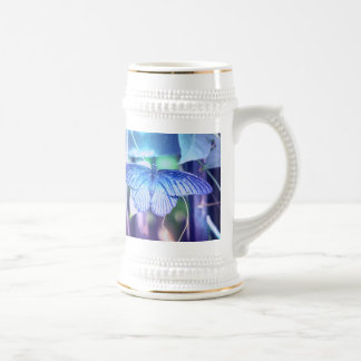 Blue Butterfly Beer Stein