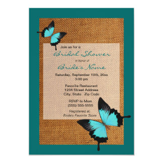 Blue Butterfly Burlap Bridal Shower Invitation