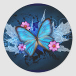 Blue Butterfly Classic Round Sticker