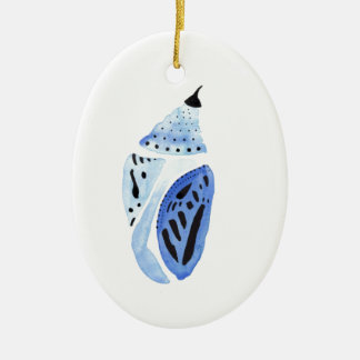 Blue Butterfly Cocoon Ceramic Oval Decoration