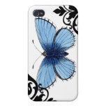 Blue Butterfly Cover For iPhone 4