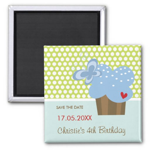 Blue Butterfly Cupcake Cute Birthday Save The Date Magnet