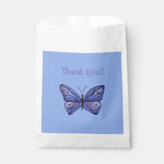 Blue Butterfly Custom White Favor Bag