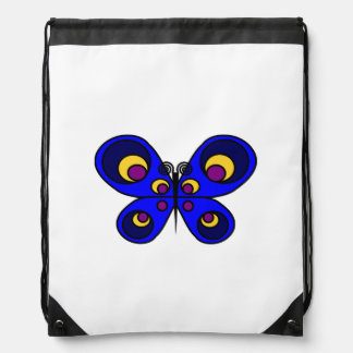 Blue Butterfly Drawstring Backpack