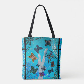 Blue Butterfly Dreaming Aboriginal Tote Bag