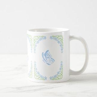 Blue Butterfly Embellishment Basic White Mug