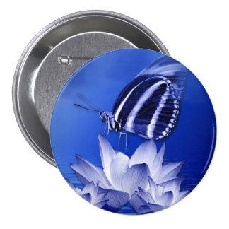 Blue Butterfly Flower Art 7.5 Cm Round Badge