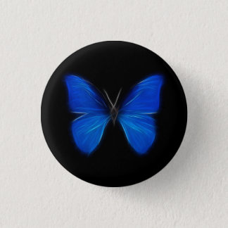 Blue Butterfly Flying Insect 3 Cm Round Badge