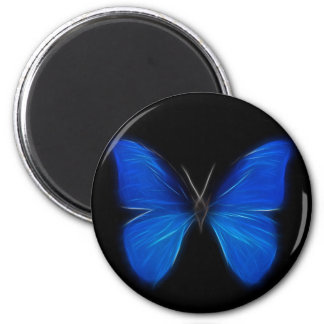Blue Butterfly Flying Insect 6 Cm Round Magnet