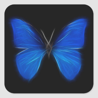 Blue Butterfly Flying Insect Square Sticker