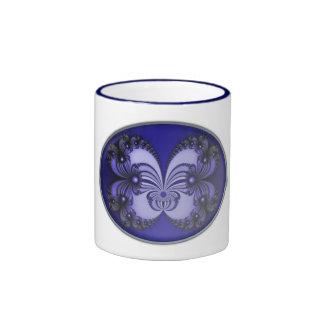 Blue Butterfly Fractal 200706070030 Ringer Mug