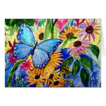 Blue Butterfly Garden Card