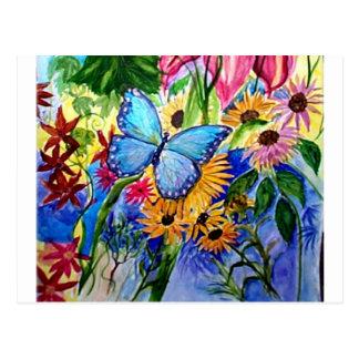 Blue Butterfly Garden Postcard