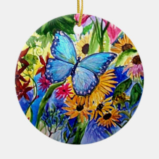 Blue Butterfly Garden watercolor Round Ceramic Decoration