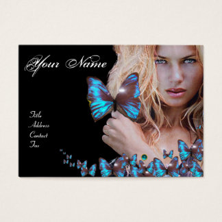 BLUE BUTTERFLY HAIR BEAUTY MAKEUP ARTIST monogram Business Card
