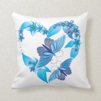 Blue Butterfly Heart American MoJo Pillows