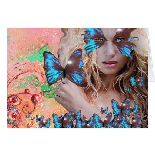 BLUE BUTTERFLY IN PINK GREEN GOLD SPARKLES CARDS